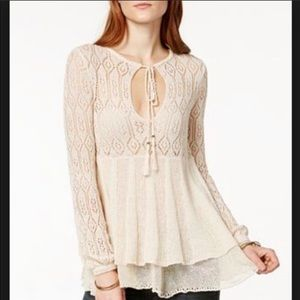 {FREE PEOPLE} Angel Days Knit Lace Pullover